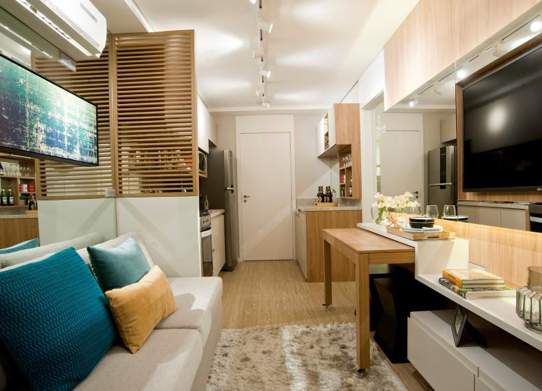 Living e Cozinha - 32 m² - Plano&Bairro do Limão