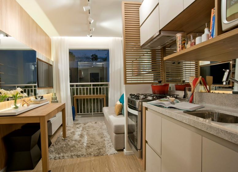Cozinha e Living - 32 m² - Plano&Bairro do Limão