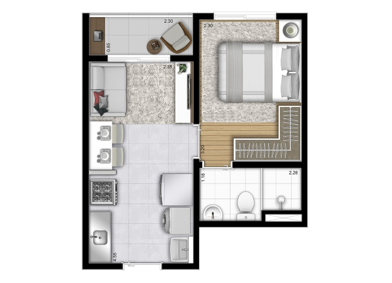 Planta 1 dorm 26,76m² (Final 15) - perspectiva ilustrada - Vista Parque by Plano&Plano