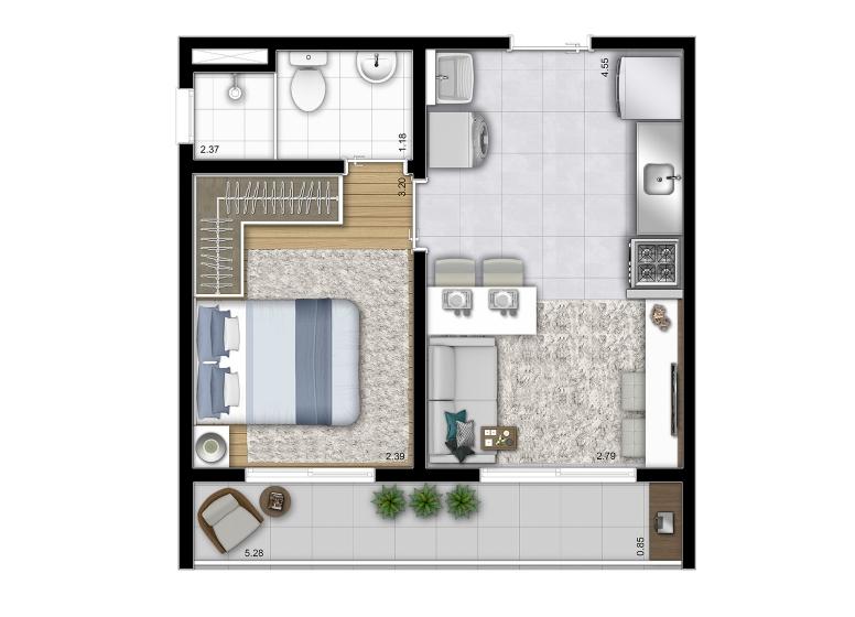 Planta 1 dorm 32,16m² (Final 8) - perspectiva ilustrada - Vista Parque by Plano&Plano