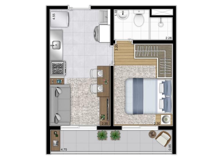 Planta 1 dorm 28,64m² (Finais 5, 10 e 14) - perspectiva ilustrada - Vista Parque by Plano&Plano
