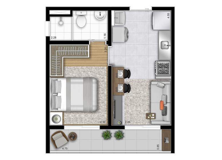 Planta 1 dorm 29,13m² (Final 12) - perspectiva ilustrada - Vista Parque by Plano&Plano