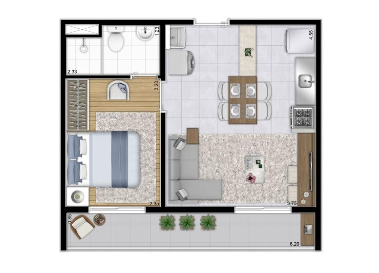 Planta 1 dorm da Torre A e B | 37,53m² - Final 1 - perspectiva ilustrada - Plano&Reserva Casa Verde