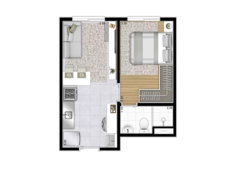 Planta 1 dorm da Torre A e B - 27,61m² | Final 8 - perspectiva ilustrada - Plano&Reserva Casa Verde