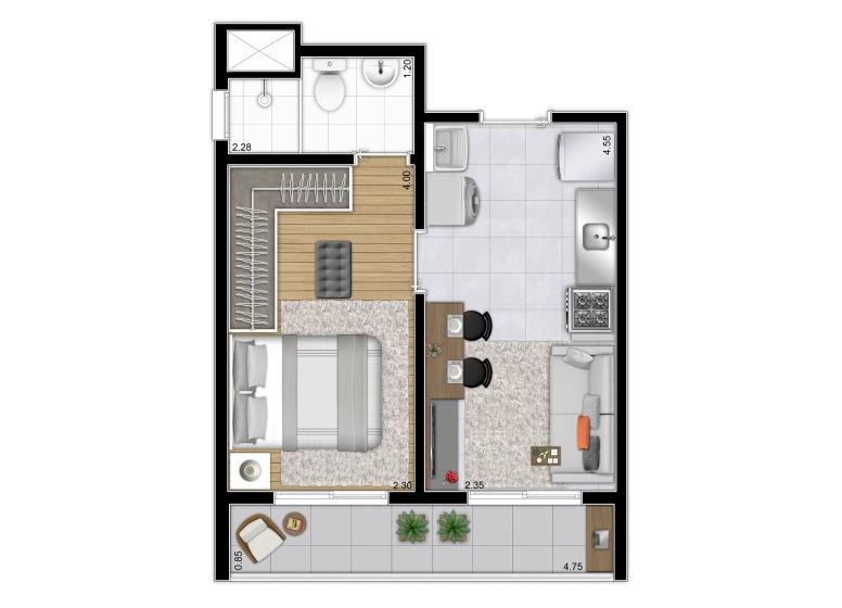 Planta 1 dorm da Torre A - 31,13m² | Finais 5 e 10 - perspectiva ilustrada - Plano&Reserva Casa Verde