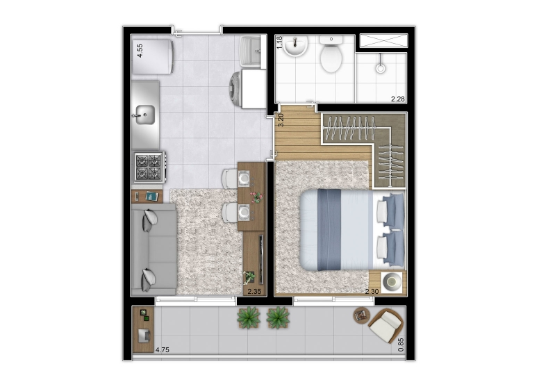 Planta 1 dorm da Torre A - 28,64m² I Finais 2 e 6 - perspectiva ilustrada - Plano&Reserva Casa Verde