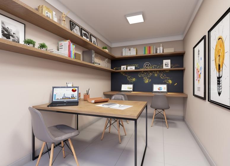 Sala de Estudos - Perspectiva Ilustrada - Plano&Jardim Planalto