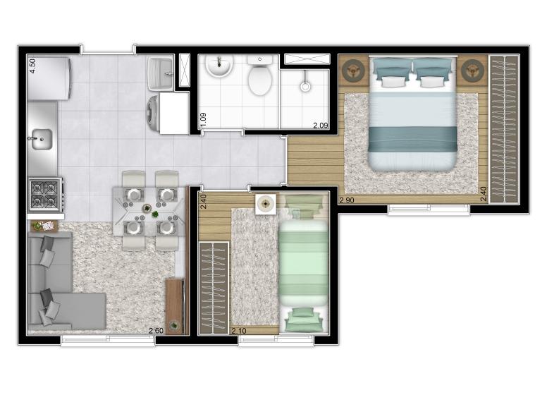 Planta Tipo - Torre-B - 32,35m² (finais 8 e 4) - Plano&Jardim Planalto