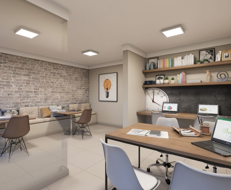 Sala de Estudos - perspectiva ilustrada - Plano&Florada Ipê