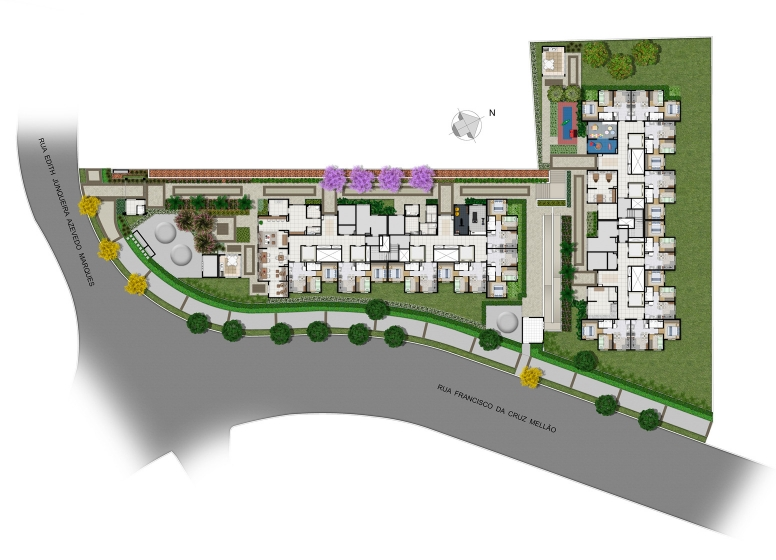 Implantação -  Perspectiva Ilustrada  - Plano&Florada Ipê