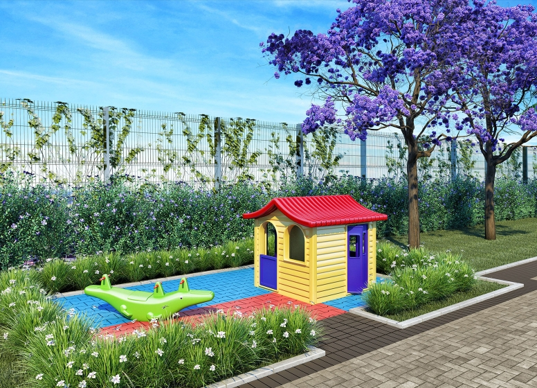 Playground - perspectiva ilustrada - Plano&Florada Ipê