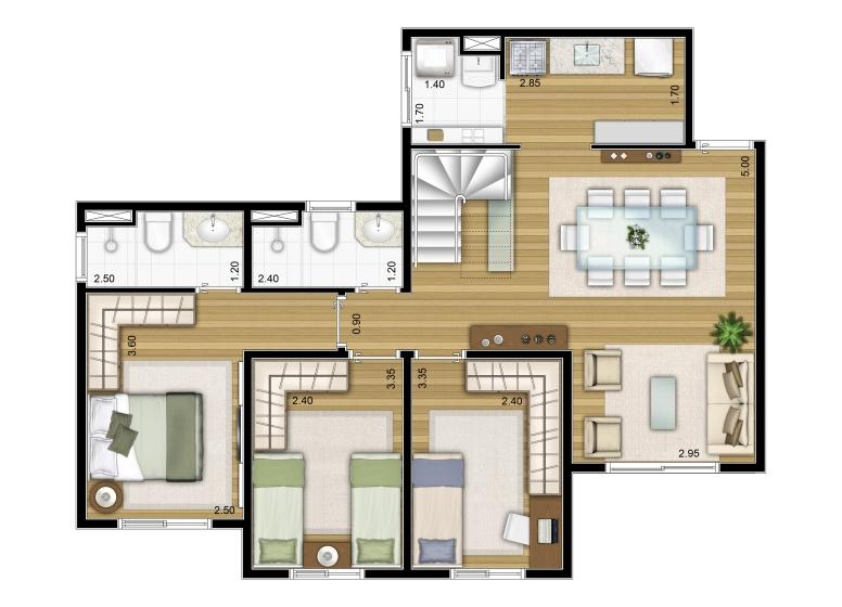 3 Dorms. Duplex inferior 138,80m² - perspectiva ilustrada - Fatto Torres de São José - fase 2