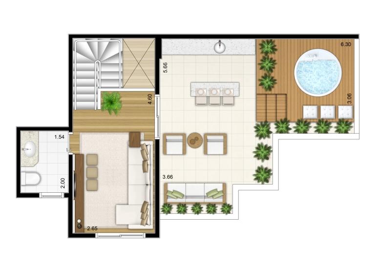 2 Dorms. Duplex Superior 109,03m² - perspectiva ilustrada - Fatto Torres de São José - fase 2