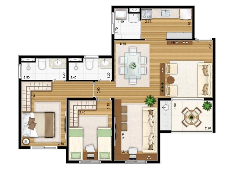 2 Dorms. 72,03m² Sala Ampliada - perspectiva ilustrada - Fatto Torres de São José - fase 2