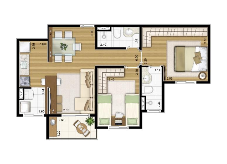 2 Dorms. 57,41m² - perspectiva ilustrada - Fatto Torres de São José - fase 2