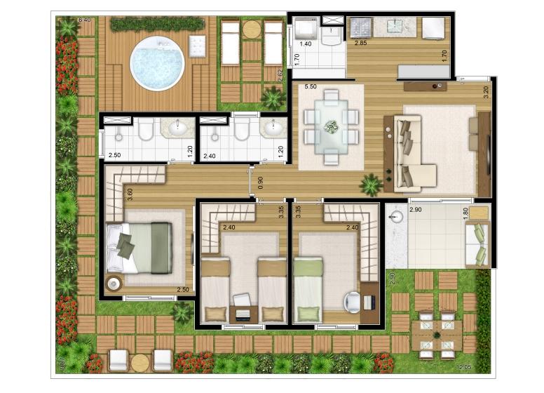 3 Dorms. Giardino 121,58m² - perspectiva ilustrada - Fatto Torres de São José - fase 2