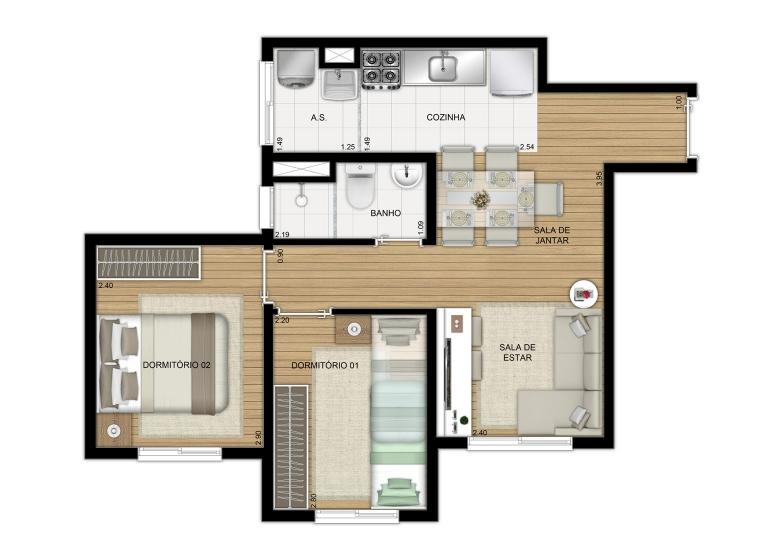 Planta 2 dorms. 40,98m² - Finais  3 e 7 - Perspectiva Ilustrada - Manuel Leiroz II