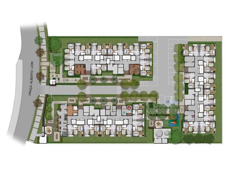 Implantação - Perspectiva ilustrada - Plano&Mooca Praça Lion III