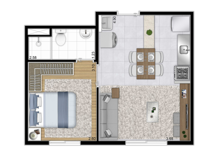 Planta tipo - 32,57² - (Final 1) - Perspectiva Ilustrada - Plano&Jardim Marajoara