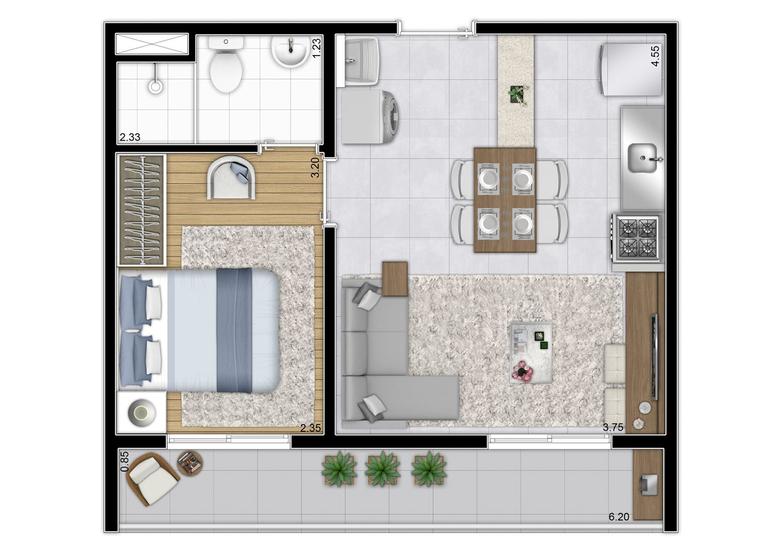 Planta tipo 37,06m² - (Final 1) - Perspectiva Ilustrada  - Plano&Reserva Vila Andrade