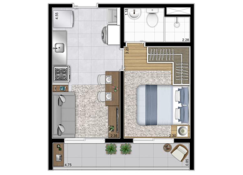 Planta tipo 28,65m² - (Finais 2, 6 e 11) - Perspectiva Ilustrada - Plano&Reserva Vila Andrade