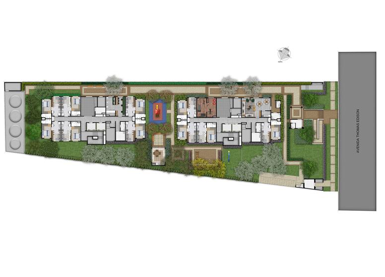 Implantação - Perspectiva Ilustrado - Plano&Estação Barra Funda