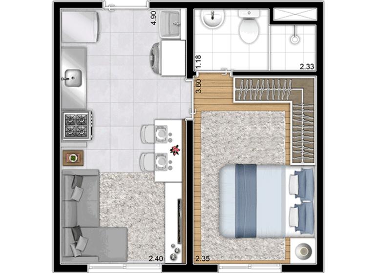 Planta Tipo - 26,37m² (Finais 3 e 17) - Perspectiva Ilustrada - Plano&Brás