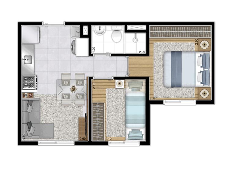 Planta Tipo - 32,18m² (Torre A - Finais 4 e 9) - Perspectiva Ilustrada - Plano&Estação Santo Amaro