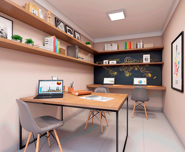 Sala de Estudos - Perspectiva Ilustrada - Plano&Brás