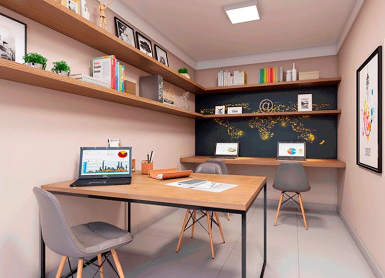 Sala de Estudo - Perspectiva Ilustrada - Plano&Brás