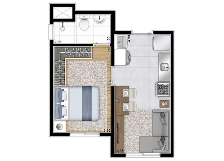 Planta Tipo 1DORM - 26,17m² (Finais 4 e 8) - Perspectiva Ilustrada - Plano&Estação Capão Redondo