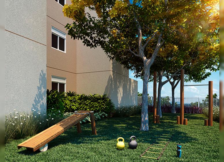 Fitness Externo - Perspectiva ilustrada - Sppace Jardim Botânico