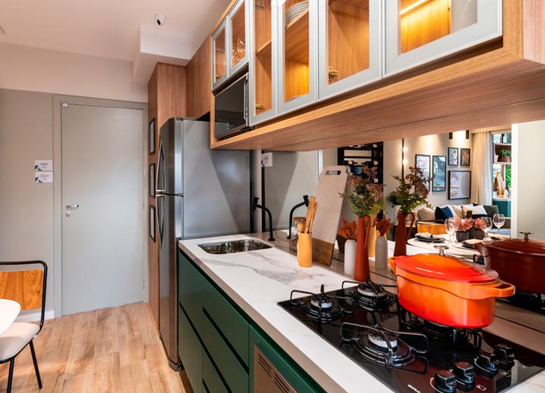 Cozinha com living - Sppace Jardim Botânico